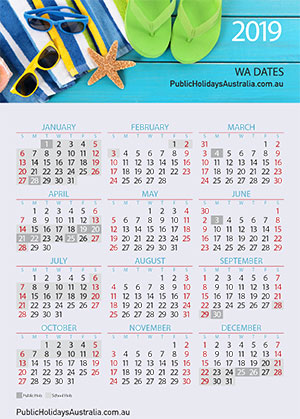 Western Calendar 2019 Western Australian School Term Dates and School Holidays Calendar